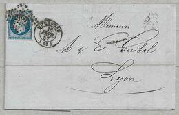 14/3 - Yvert 14 Sur Lettre De MULHOUSE Petits Chiffres 2199 Du 29 FEVR 1857 Pour LYON - Les Frappes Sont Superbes. - 1853-1860 Napoléon III