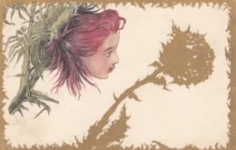 Unknown Artist Image, Beautiful Young Woman In Flower C1900s Vintage Postcard - Illustratori & Fotografie
