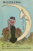 Mooning, Couple Hugs Moon Cries Or Sweats, 'Darling, What? Nothing Just Darling' C1900 Vintage Postcard - Coppie
