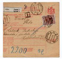1928 YUGOSLAVIA, CROATIA, ZAGREB TO VARAZDIN, PARCEL CARD, 15 DIN. STAMP, USED - Postal Stationery