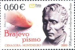 2009, The 200th Anniversary Of The Birth Of Louis Braille, Montenegro, MNH - Montenegro
