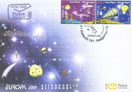 2009, FDC, EUROPA Stamps, Astronomy, Montenegro, MNH - Montenegro