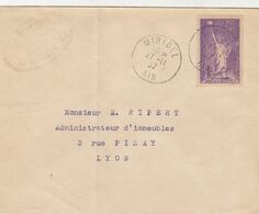 SEUL SUR LETTRE . N° 309. AIDE AUX REFUGIES. MIRIBEL POUR LYON - 1921-1960: Periodo Moderno