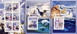 Guinea 2008, Polar Year, Explorers, Penguins, Wolf, Seal, 6val In BF +2BF - Antarctic Wildlife