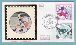 FDC Monaco 1980 - Jeux Olympiques Moscou - YT 1222 Hocket Sur Glace Et YT 1223 Slalom - FDC