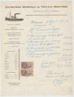 BORDEAUX: ENT TRAVAUX MARITIMES, Crs Du XXX Juillet / Fact De 1929 - Transporte