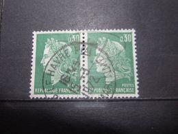 """VEND BEAUX TIMBRES DE FRANCE N° 1611 EN PAIRE , OBLITERATION """" LE HAVRE """" !!! - 1967-70 Marianne De Cheffer"""
