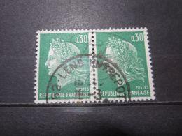 """VEND BEAUX TIMBRES DE FRANCE N° 1611 EN PAIRE , OBLITERATION """" LENS ENTREPOT """" !!! - 1967-70 Marianne De Cheffer"""