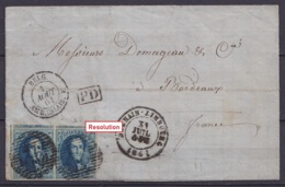 """LSC (sans Texte) Affr. Paire N°11 (TTB Margé) P36 Càd DOLHAIN-LIMBOURG /31 JUIL 1861 Pour BORDEAUX - [PD] Càd """"BELG. AMB - 1858-1862 Medallions (9/12)"""