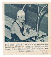 Orig. Knipsel Coupure Magazine - Sport Zwemmen - Fernande Caroen Uit Oostende Met Nieuw Belgisch Record 200 M - 1939 - Non Classés