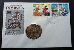 Dominica Walt Disney AMERIPEX 1986 Mickey Mouse Donald Cartoon FDC (coin Cover) - Dominica (1978-...)