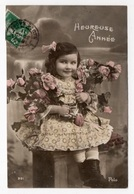 DF / FÊTES - VOEUX / NOUVEL AN  / HEUREUSE ANNÉE / FILLETTE ET ROSES / 1911 - Anno Nuovo