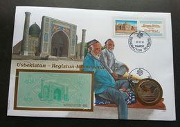 Uzbekistan Bibi-Khanym Mosque Islamic 1995 FDC (banknote Coin Cover) *rare - Ouzbékistan