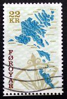 Faroe Islands 2000   The Faroese Sea Shelf  /  Landkarte     MiNr.380   ( O)   ( Lot E 1027 ) - Färöer Inseln