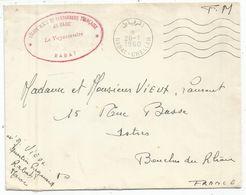 LETTRE FM RABAT CHELLAH 20.1.1960 + CACHET ROUGE LEGION MIXTE GENDARMERIE FRANCAISE AU MAROC LE VAGUEMESTRE - Marcofilia (sobres)