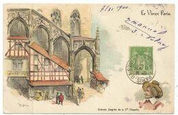 SAGE 5C VERT JAUNE AU RECTO CARTE COULEURS LE VIEUX PARIS TYPE A PARIS 81 11 NOV 1900 R DES CAPUCINES POUR HOLLANDE - Marcophilie (Lettres)