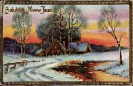 Cp Glückwunsch Neujahr, Winterlandschaft - Nouvel An