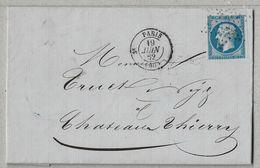 14/3 - Yvert 14 Sur Lettre De PARIS étoile 1342 Du 19 JUIN 1862 Pour CHATEAU THIERRY - Arrivée Le 20 JUIN. - 1853-1860 Napoléon III
