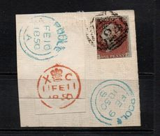 GB Victoria Penny Red Imperf  ; On A Piece With Blue And Red Poole Cancels - Gebruikt