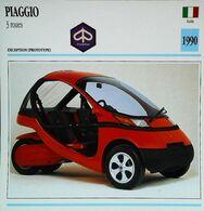 PIAGGIO 3 Roues 1990    - Automobile Italienne - Collection Fiche Technique Edito-Service S.A. - Voitures