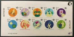 """Finland. Peterspost. """"Act Now"""", Joint-issue, Set Of 10 Imperforated Stamps In Block - Finnland"""