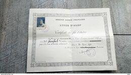 Certificat Fin D'études Lycée Alep Syrie 1941 Mission Laïque Française - Diploma's En Schoolrapporten