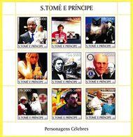Bloc Feuillet Neuf** De 9 Timbres-poste - Personnages Célèbres - Sao Tome Et Principe 2003 - Sao Tomé Y Príncipe