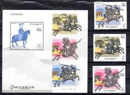SOMALIA, 2003 - FOGLIETTO + SERIE - S/SHEET + SET - SOLDATI A CAVALLO - MNH** - Somalia (1960-...)