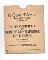 Carte Officielle Du Service Géographique De L'armée, La Cote D'Azur Thème Militaria, - Cartes Géographiques