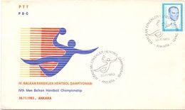 TURKY ANKARA   HANDBALL CHAMPIONSHIP 1983 FDC  FANTASTIC   COVER (AGO200163) - Handball
