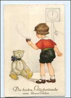 XX006892/ Geburtstag Kind Teddy Uhr  Litho AK 1928  - Verjaardag