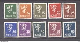 Norvège  :  Yv   173-82  * - Unused Stamps