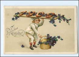 XX006512/ Neujahr Jahreszahl 1909 Kind Veilchen 1909 Litho Prägedruck AK - Nieuwjaar