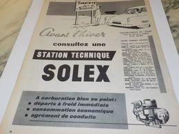 ANCIENNE PUBLICITE SOBRIETE CARBURATEUR SOLEX 1958 - Other
