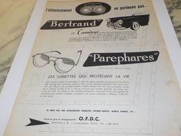 ANCIENNE PUBLICITE PAREPHARES DE BERTRAND 1954 - Other
