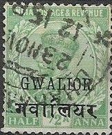 GWALIOR 1912 King George V - 1/2a Green FU - Gwalior