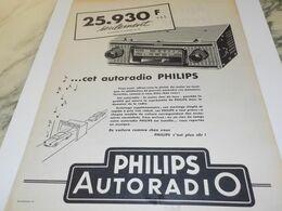 ANCIENNE PUBLICITE AUTORADIO  PHILIPS 1958 - Affiches