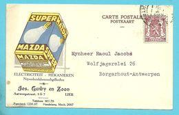 511 Op Kaart  Geillustreerd Met MAZDA SUPER / GUWY LIER (Lampes) - 1935-1949 Small Seal Of The State