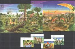 A055 CENTRAL AFRICA FAUNA PREHISTORIC ANIMALS DINOSAURS !!! 2KB+1SET MNH - Prehistorisch
