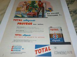 ANCIENNE PUBLICITE MOTEUR PROTEGE AVEC TOTAL 1959 - Other