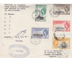 Lettre Des Falkland Dependencies N° 51 à 56, Obl. 5 Bases Différentes Au Passage Du HMS Protector + Hélicoptère - Falkland