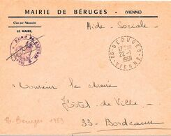 Lettre Cache Type B9 -86-Beruges- 22 -I  I969, Circulaire En Tirets - Marcophilie (Lettres)