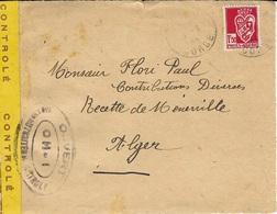 Mars 1944 - DEVANT D'enveloppe De CORSE Affr. 1,50 Algérie Pour Alger Ac-vec Bande De Contrôle Jaune + Censure O H-1 - Marcophilie (Lettres)