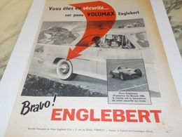 ANCIENNE  PUBLICITE PNEU ENGLEBERT VOLUMAX 1957 - Other
