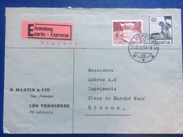 SWITZERLAND 1954 Express Cover Verrieres To Bienne - `Martin & Cie` - Schweiz