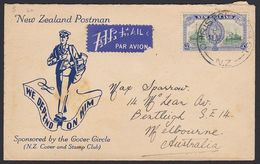 NEW ZEALAND - AUSTRALIA 5d RATE AIRMAIL POSTMAN CACHET - 1907-1947 Dominion