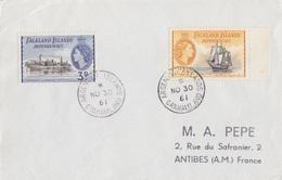 4 Lettres Des Falkland Dependencies N° 51, 52, 53, 54, 55, 56, 57 (Navires), Obl. Argentine Is. Le 30 NO 61 - Falkland