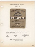 Superbe Et Rare Etiquette / The House Of Schenley N.Y. / 1951 / BOURBON WHISKEY : I.W. HARPER Kentucky - USA