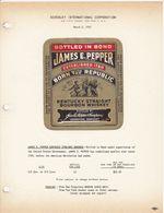 Superbe Et Rare Etiquette / The House Of Schenley N.Y. / 1953 / JAMES E. PEPPER KENTUCKY STRAIGHT BOURBON - USA