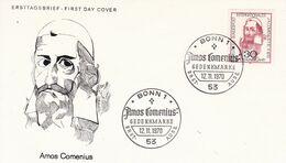 BRD FDC 1970 Mi.656 300.Todestag Johann Amos Comenius - FDC: Enveloppes